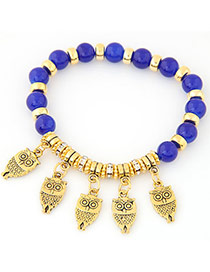 Exquisite Sapphire Blue Owl Shape Pendant Decorated Beads Chain Design