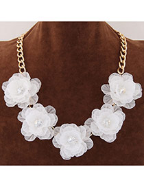 Sweet Blue Five Big Flower Decorated Short Chain Design Alloy Bib Necklaces