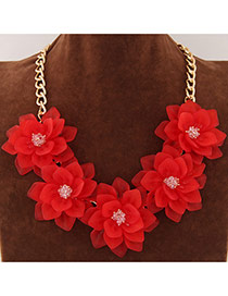Sweet Red Five Big Flower Decorated Short Chain Design