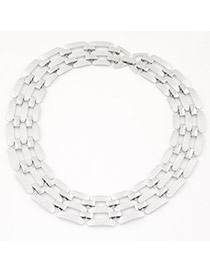 Exaggerate Silver Color Metal Chain Decorated Hollow Out Short Design