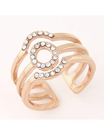 Sweet Gold Color Diamond Decorated Multilayer Opening Design  Alloy Korean Rings