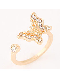 Sweet Gold Color Diamond&butterfly Shape Decorated Irregular Opening Design  Alloy Korean Rings