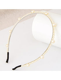 Elegant White Pearl Weaving Decorated Pure Color Narrow Design  Alloy Hair band hair hoop