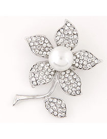 Sweet Silver Color Pearl&pearl Decorated Flower Shape Design  Alloy Korean Brooches