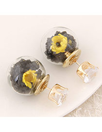 Sweet Black+yellow Diamond&flower Decoraed Simple Design  Alloy Stud Earrings