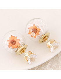 Sweet White+orange Diamond&flower Decoraed Simple Design  Alloy Stud Earrings