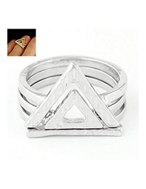 Fashion Silver Color Triangle Decorated Multilayer Design  Alloy Korean Rings