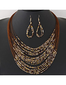 Bohemia Coffee Beads Weaving Decorated Multilayer Design  Alloy Jewelry Sets