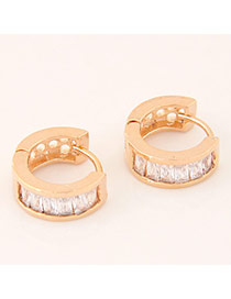 Sweet Gold Color+white Diamond Decorated Semicircle Shape Design  Cuprum Korean Earrings