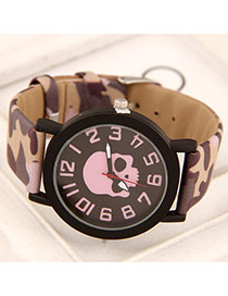 Personality Pink Skull Pattern Decorated Round Case Design  Alloy Ladies Watches