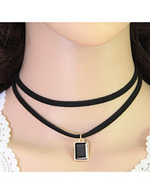 Fashion Black Square Pendant Decorated Double Layer Design Alloy Pendants