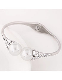 Trending Silver Color Double Pearls Decorated Simple Design  Alloy Fashion Bangles