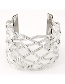 Trending Silver Color Hollow Out Metal Weave Opening Design