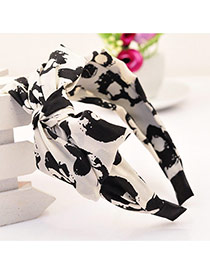 Sweet White&black Bowknot Decorated Graffiti Pattern Wide Design  Fabric Hair band hair hoop