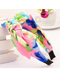 Sweet Multicolor Bowknot Decorated Flower Pattern Wide Design  Fabric Hair band hair hoop