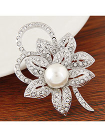 Personality White Pearl&diamond Decorated Flower Shape Design  Alloy Korean Brooches