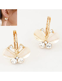 Sweet Beige Diamond Decorated Butterfly Shape Design