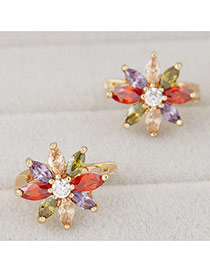 Sweet Multi-color Flower Shape Decorated Simple Design Cuprum Korean Earrings