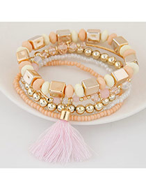 Bohemia Pink Tassel Decorated Multicolor Design Alloy Korean Fashion Bracelet