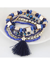 Bohemia Blue Tassel Decorated Multicolor Design Alloy Korean Fashion Bracelet