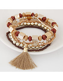 Bohemia Light Brown Tassel Decorated Multicolor Design Alloy Korean Fashion Bracelet