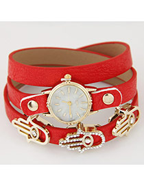 Fashion Red Palm Shape Decorated Multilayer Design Alloy Ladies Watches
