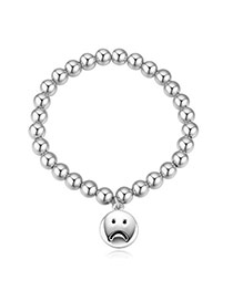 Elegant Silver Color Sad Face Round Pendant Beads Decorated Simple Design Alloy Crystal Bracelets
