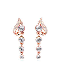 Elegant White Diamond Decorated Simple Design Alloy Crystal Earrings