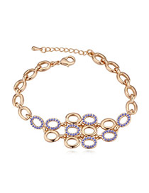 Elegant Champagne Gold+tanzanite Diamond Decorated Oval Shape Hollow Out Design Alloy Crystal Bracelets