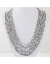 Fashion Silver Color Metal Decorated Multilayer Design Alloy Chains