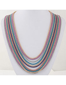 Fashion Multicolor Metal Decorated Multilayer Design Alloy Chains