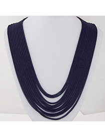 Fashion Navy Blue Metal Decorated Multilayer Design Alloy Chains