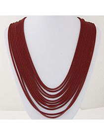 Fashion Red Metal Decorated Multilayer Design Alloy Chains
