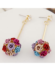 Sweet Multicolor Flower Decorated Ball Shape Design Alloy Stud Earrings