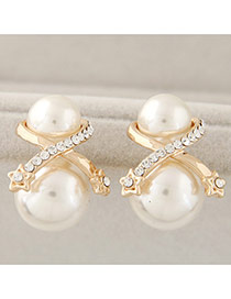 Sweet White Star Decorated Double Pearls Design