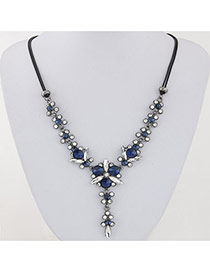 Sweet Blue Diamond Decorated Double Layer Design