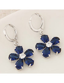 Sweet Blue Diamond Decorated Flower Shape Design Cuprum Stud Earrings