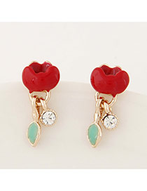 Fashion Red Diamond Decorated Flower Shape Design Alloy Stud Earrings