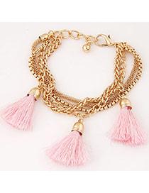 Fashion Pink Tassel Decorated Multilayer Design Alloy Korean Fashion Bracelet