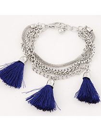 Fashion Sapphire Blue Tassel Decorated Multilayer Design Alloy Korean Fashion Bracelet