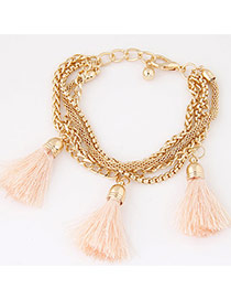 Fashion Light Orange Tassel Decorated Multilayer Design Alloy Korean Fashion Bracelet