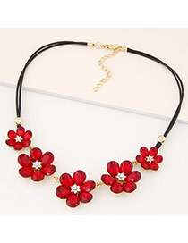 Fashion Red Three Flowers Decorated Double Layer Design Alloy Bib Necklaces