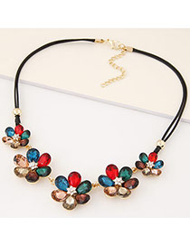 Fashion Multicolor Three Flowers Decorated Double Layer Design Alloy Bib Necklaces