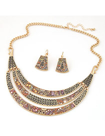 Fashion Gold Color Meniscus Pendant Decorated Simple Design Alloy Jewelry Sets