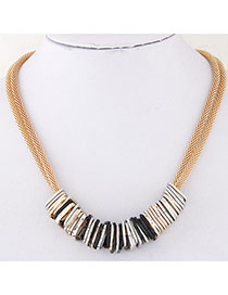 Fashion Gold Color Square Metal Pendant Decorated Double Layer Chain Design Alloy Bib Necklaces