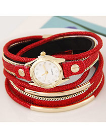 Temperamental Red Metal Rivet&chain Decorated Multilayer Design Alloy Ladies Watches