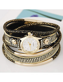 Temperamental White+black Metal Rivet&chain Decorated Multilayer Design Alloy Ladies Watches