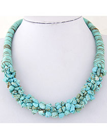Bohemia Light Blue Irregular Shape Decorated Weave Design