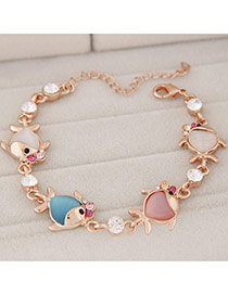 Fashion Multicolor Diamond Decorated Fish Shape Design Alloy Korean Fashion Bracelet