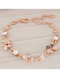 Fashion Gold Color Diamond Decorated Butterfly Shape Design Alloy Korean Fashion Bracelet